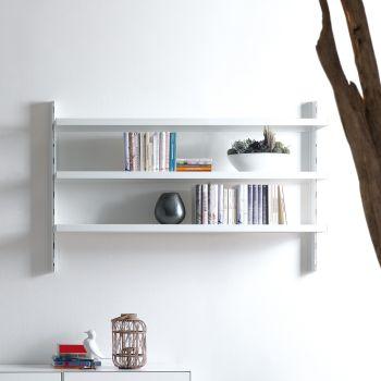 Melker scaffale da parete in acciaio bianco nero grigio 165 x H106 cm