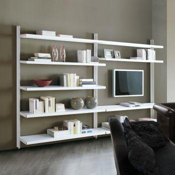 Libreria a giorno Big 12 in acciaio design moderno 325 x 32 x 203 cm