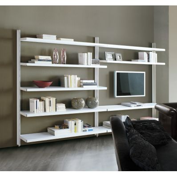 Libreria a giorno in acciaio design moderno per soggiorno Big 12