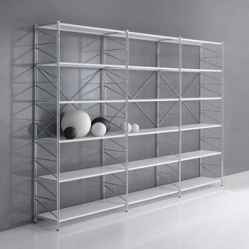 Libreria componibile Socrate 21 in filo acciaio cromato 293 x 200 cm