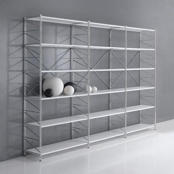 Libreria componibile socrate 21 in filo acciaio cromato for Libreria acciaio e vetro
