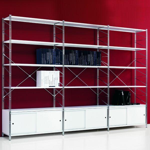 Kristoffer scaffale per ufficio in acciaio con ante scorrevoli 293 x 200 cm