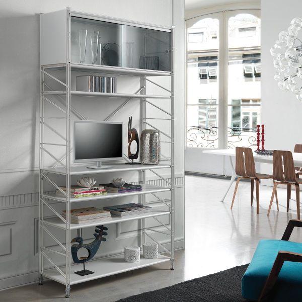 Mikkel scaffale componibile da parete in acciaio bianco 100 x 200 cm