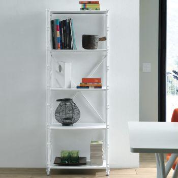 Scaffale verticale Socrate 154 da soggiorno in acciaio bianco 60 x 162 cm