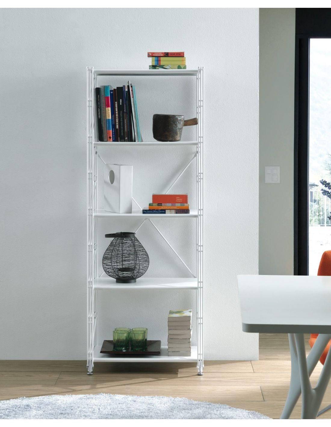 Tobias scaffale verticale da soggiorno in acciaio bianco for Scaffali per ufficio acciaio