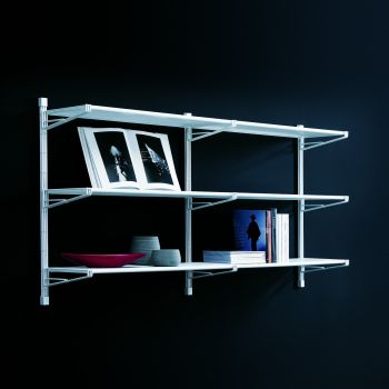 Valdemar libreria da parete componibile in acciaio bianco 196x100 cm