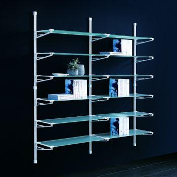 Elliot scaffale da parete componibile in acciaio e vetro 196x196 cm