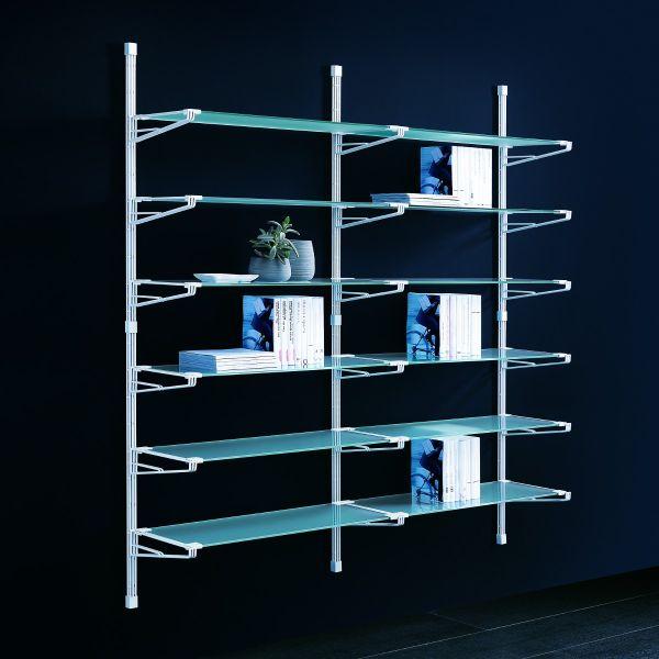 scaffale da parete socrate 40 componibile in acciaio e vetro ... - Scaffali Metallo E Vetro