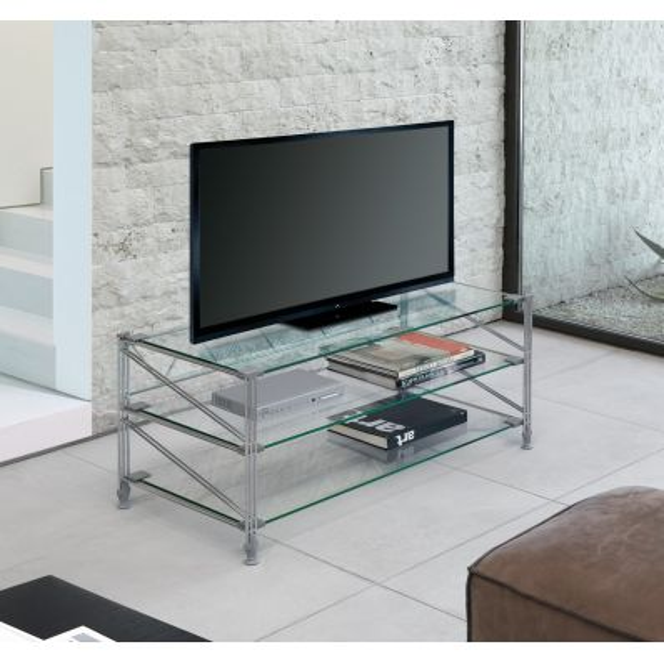 Tilde tavolino porta TV in acciaio e vetro 100x47 cm