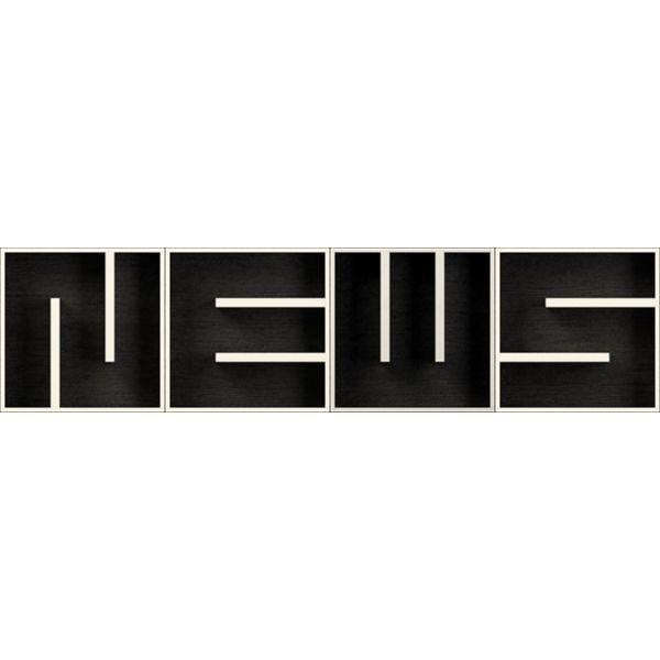 ABC NEWS libreria componibile a muro lettere alfabeto in legno 204 X 51 cm