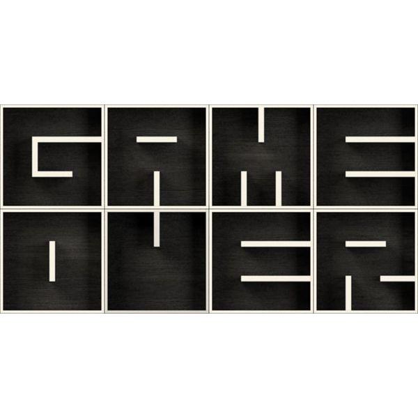 ABC GAME OVER libreria componibile a cubi lettere in legno 204 X 102 cm