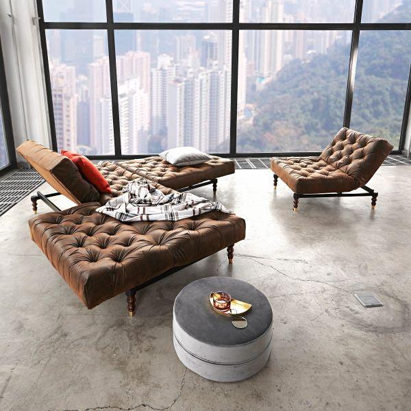 Poltrona vintage design moderno con seduta a molle OldSchool