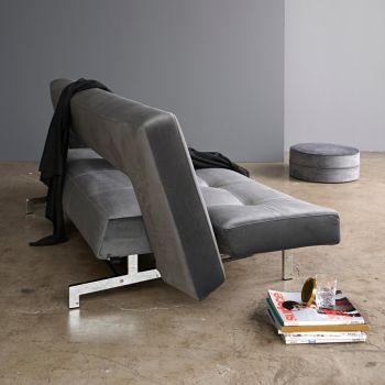 Divano letto Wing reclinabile in velluto con materasso a molle 200 cm