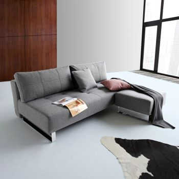 Divano letto Supremax Deluxe matrimoniale in tessuto design moderno