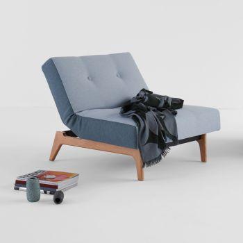 Poltroncina da camera Modi con materasso a molle e gambe in legno