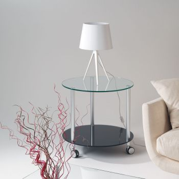 Tavolino con ruote rotondo Dritter in vetro temperato diametro 60 cm