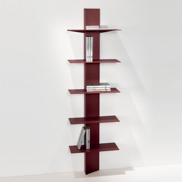 Libreria moderna da parete a colonna in acciaio 5 mensole Lift