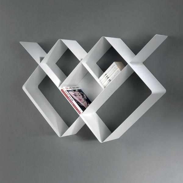 Libreria a parete moderna in acciaio modulare 120 x 120 cm Mondrian