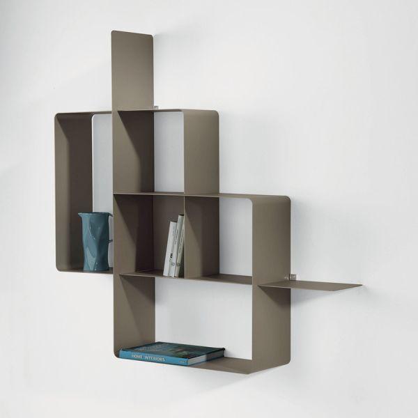 Libreria Mondrian da parete moderna in acciaio modulare 120 x 120 cm