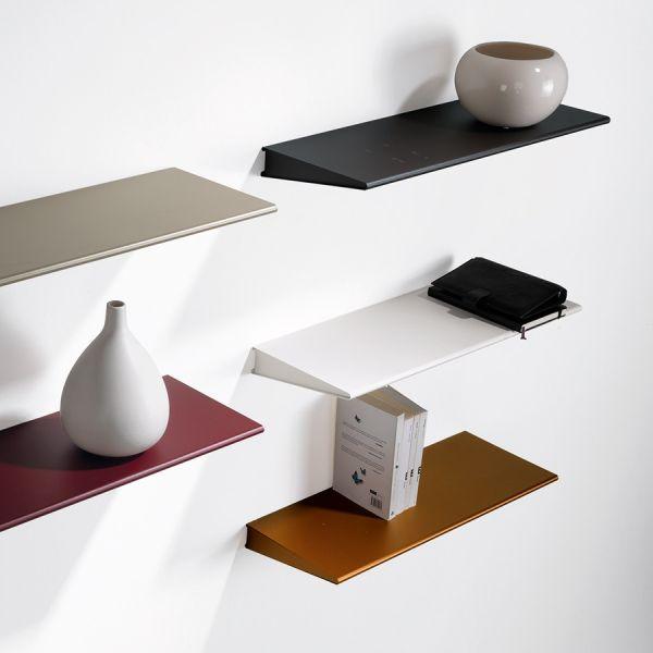 Mensola design moderno in acciaio verniciato 60 cm o 90 cm Ala