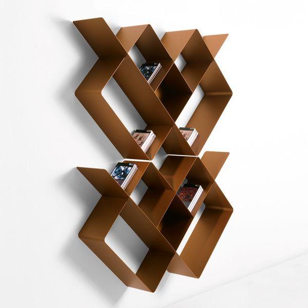 Libreria da parete Mondrian-1 componibile in acciaio 125 x 166 cm