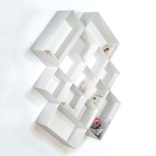 Libreria da parete Mondrian-3 design moderno in acciaio 125 x 165 cm