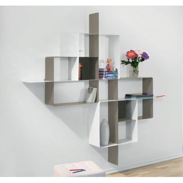 Libreria scaffale design mondrian 5 in acciaio 200 x 200 cm