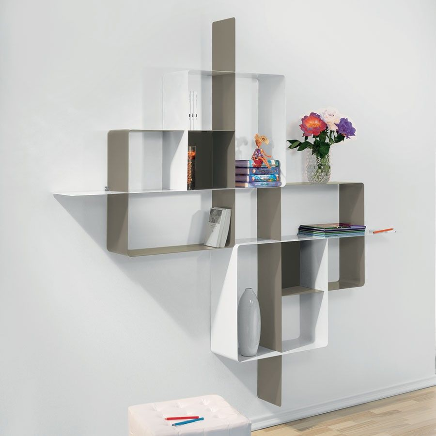 Libreria scaffale design mondrian 5 in acciaio 200 x 200 cm for Librerie metalliche design