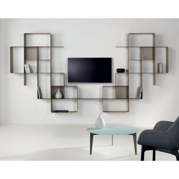 Parete attrezzata libreria per soggiorno in acciaio Mondrian-9