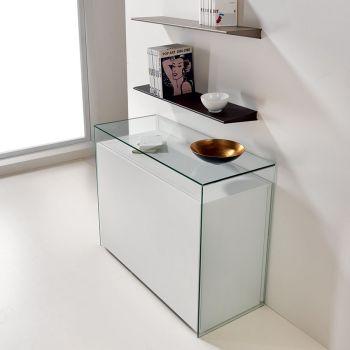 Tavolo trasformabile Proteo in acciaio e legno con consolle in vetro