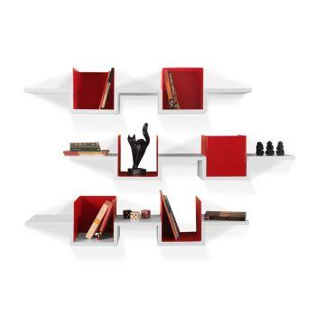 Triplete set di 3 mensole da parete in legno e plexiglass 120 cm