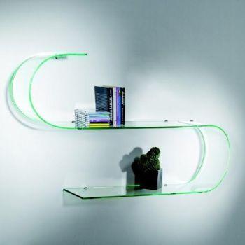 Coppia mensole Surf design in vetro curvo trasparente 100 cm