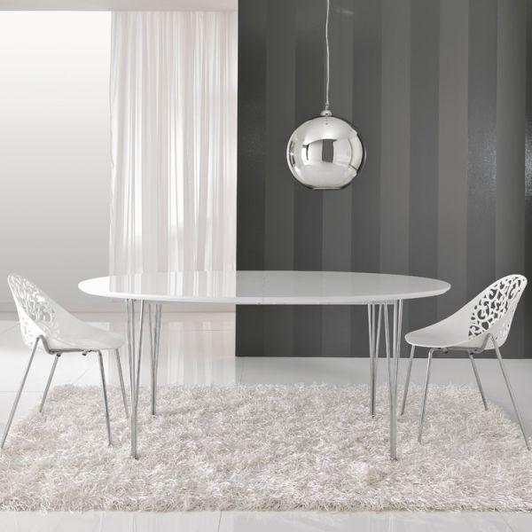 Tavolo allungabile Eternal in acciaio piano in MDF bianco lucido 270 cm