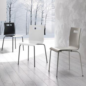 Sedia Show in metallo e legno moderna da cucina