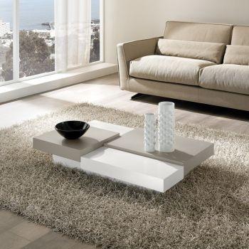 Tavolino Lionel moderno per soggiorno in legno laccato 110 x 70 cm