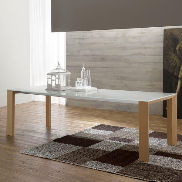 Tavolo allungabile Clapton per sala pranzo in legno e vetro 250 cm