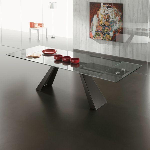 Dunolly tavolo allungabile in metallo e vetro Bianco o Antracite 270 cm