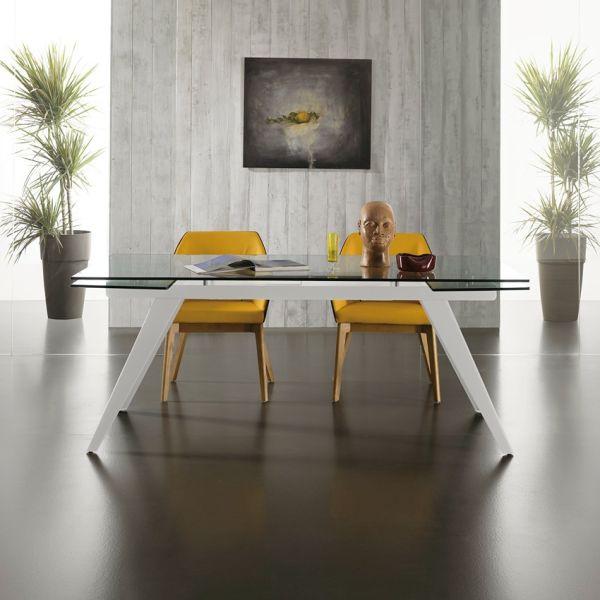 Learning tavolo allungabile da cucina in metallo e vetro 270 x 100 cm