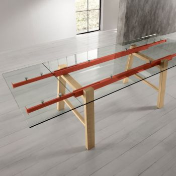 Jordy tavolo allungabile design moderno in legno metallo e vetro 250 cm