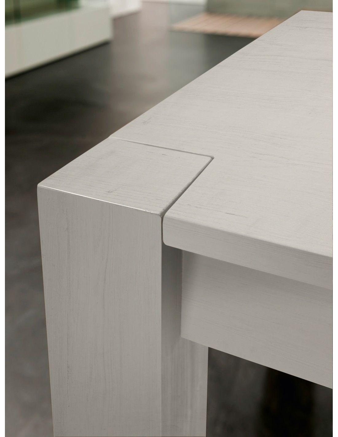Lexton tavolo allungabile in legno massello invecchiato for Tavolo in legno bianco