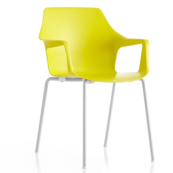 Vesper2 sedia impilabile con braccioli in metallo e plastica