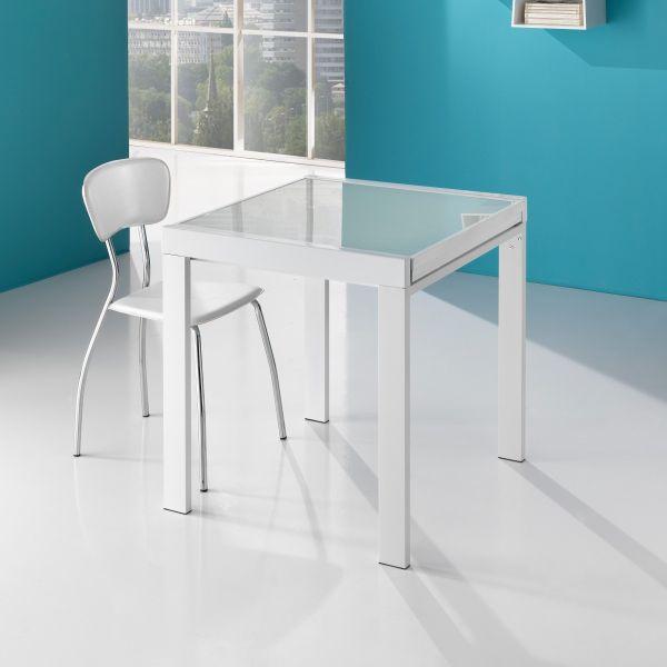Tavolo Duplika raddoppiabile in metallo piano in vetro da 70 a 140 cm