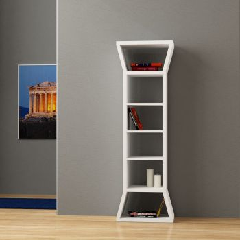 Pinnacle libreria a colonna da terra in legno Bianco Wenghè 50 x 160 cm