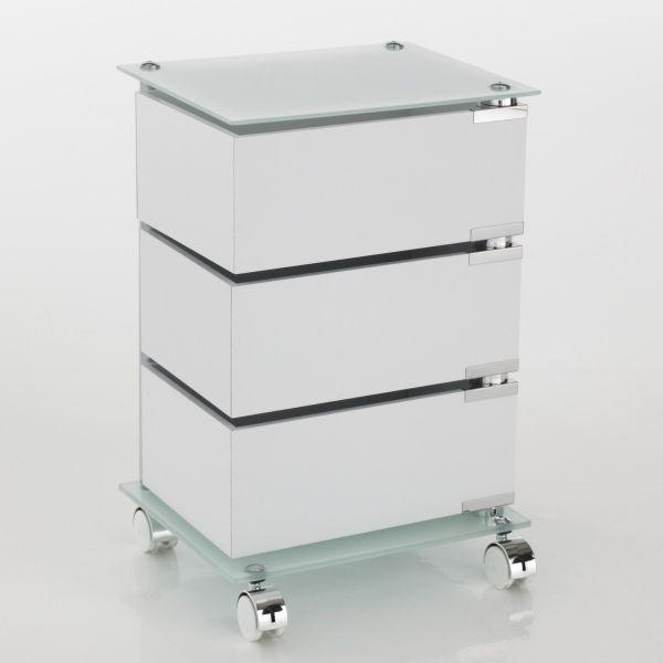 Dennis cassettiera con ruote in vetro e legno 3 o 5 cassetti