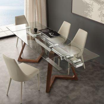 Tavolo allungabile Spoleto in noce massello acciaio e piano in vetro