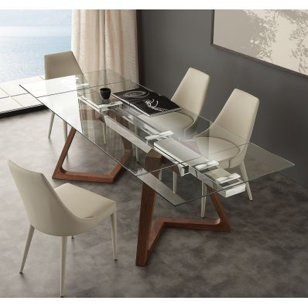 Tavolo allungabile Spoleto gambe in noce massello struttura in acciaio piano in vetro