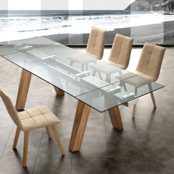 tavolo da pranzo allungabile in legno massello acciaio e vetro 240cm