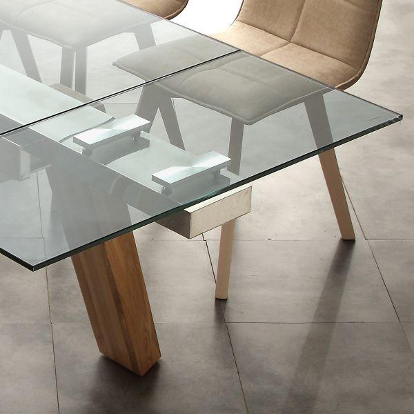ALBENGA tavolo da pranzo ALLUNGABILE design legno massello ACCIAIO e ...