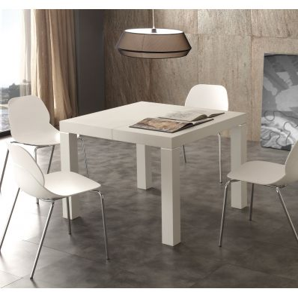 tavolo quadrato 90 x 90 cm allungabile a 350 cm in legno