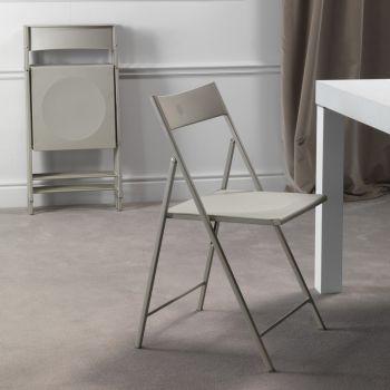 Sooner sedia pieghevole in metallo e plastica Bianco Antracite Tortora